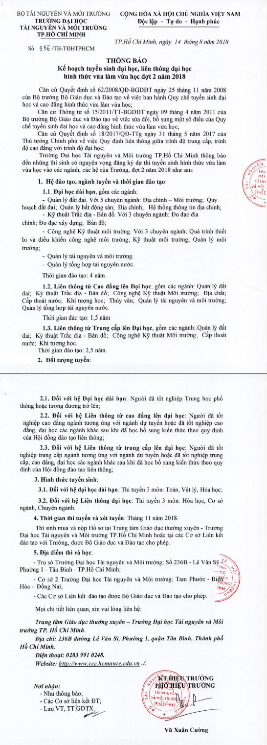 TBTS-LienThongDHTaiNguyenMoiTruongTPHCM